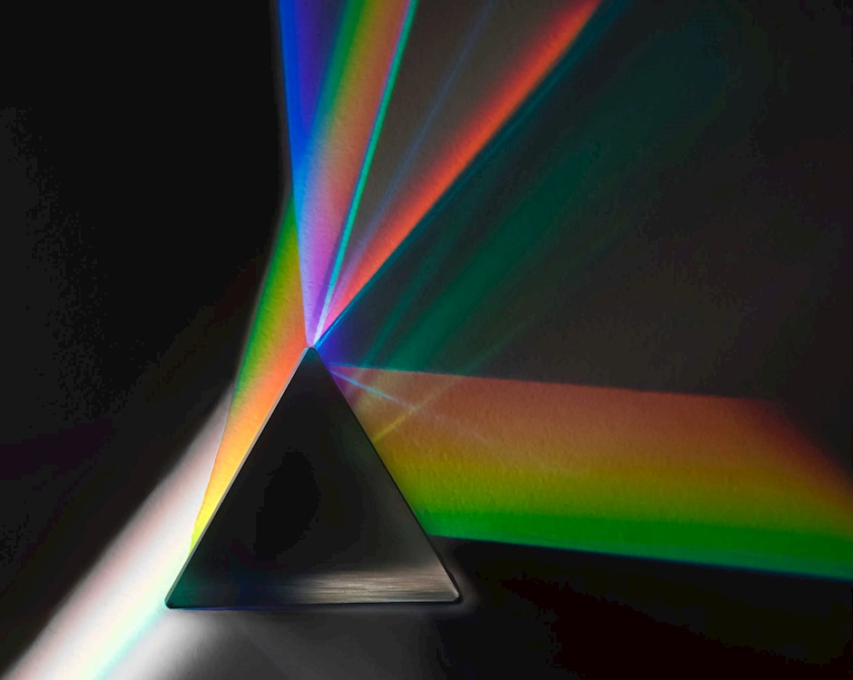 Prism with light coming through