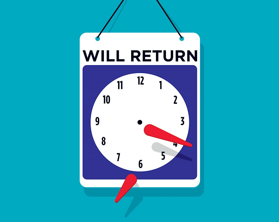 Illustration of a returning soon sign